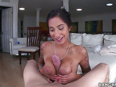 Chicana With Big Ass Is In Sexual Ecstasy With Erect Schlong In Her Hands