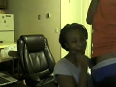 Sexy Black Couple Blowjob On Chatroulette Webcam
